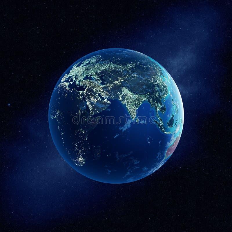 Tierra con las luces de la ciudad en la noche stock de ilustración