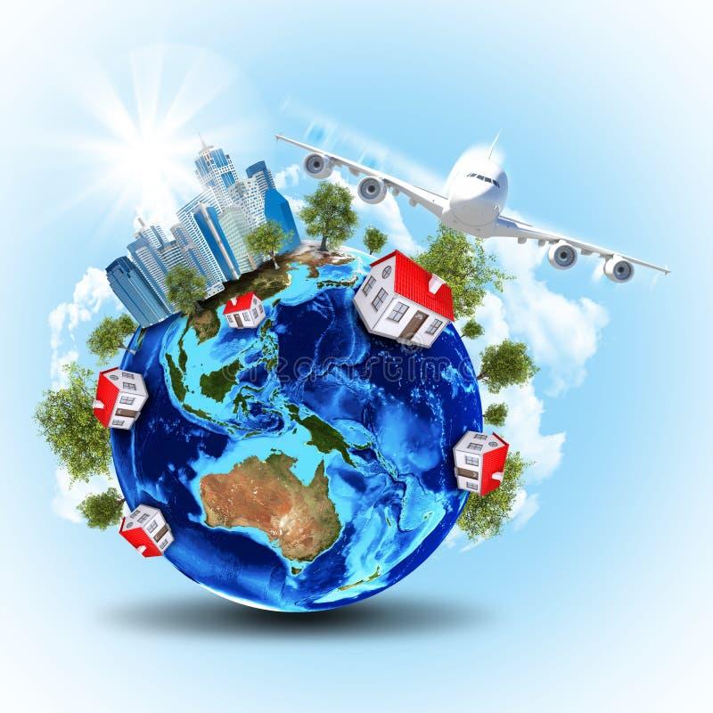 Download Tierra Con Los Edificios Y El Aeroplano Imagen de archivo - Imagen de tierra, cubo: 42425699