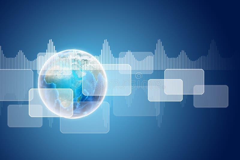 Tierra con rectángulos y gráficos transparentes stock de ilustración