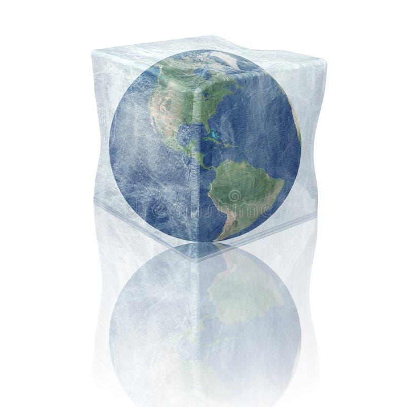 Tierra congelada del planeta. Norte y Suramérica. ilustración del vector