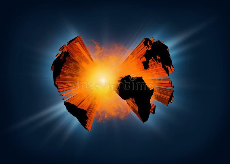 Tierra de estallido del planeta ilustración del vector