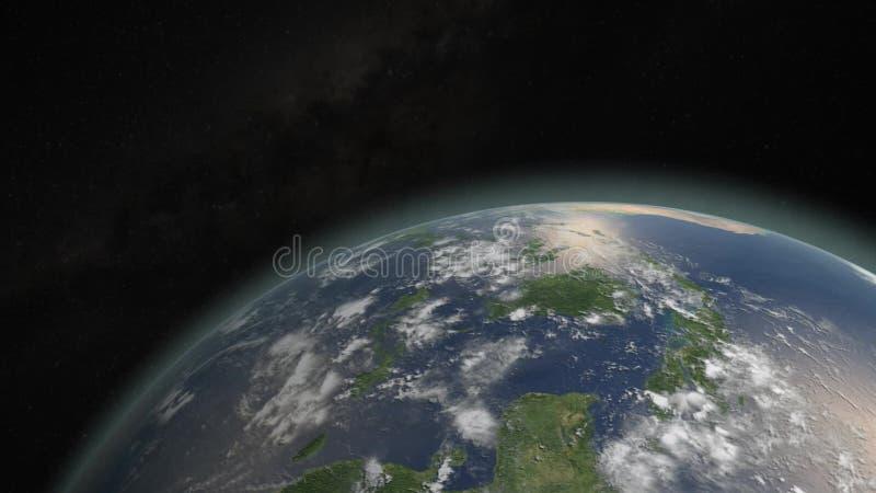 Tierra de golpe y ardiendo del asteroide stock de ilustración