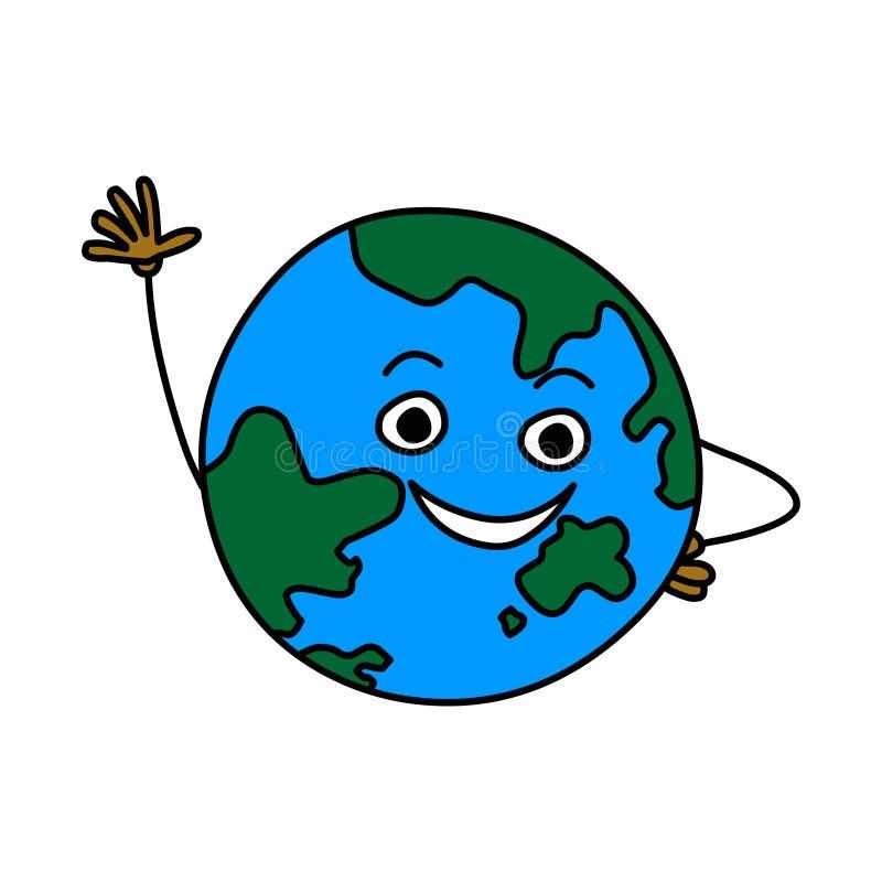 Tierra de la historieta Ejemplo del vector de la tierra aislado en el fondo blanco stock de ilustración