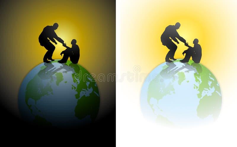 Tierra de la humanidad de la mano amiga stock de ilustración