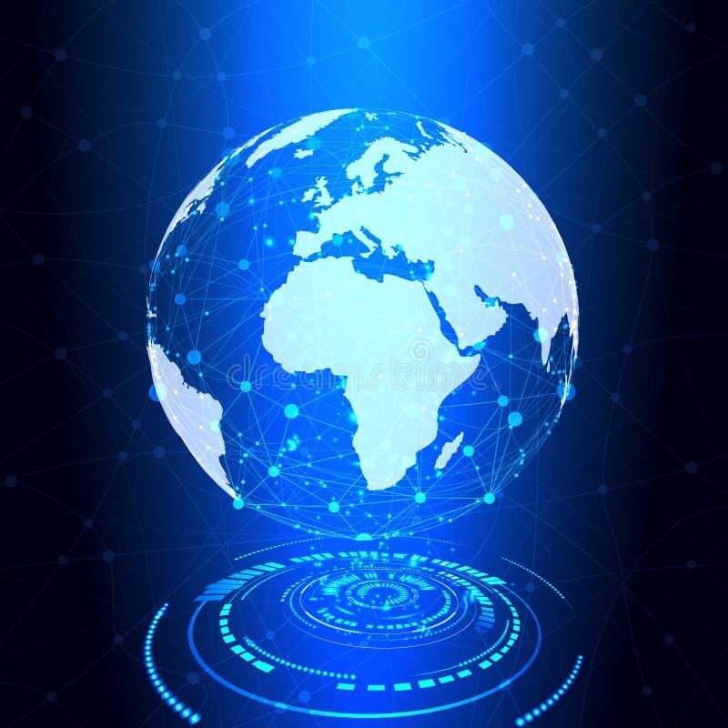 Tierra de la investigación, conexión del globo, fondo de la tecnología - vector libre illustration