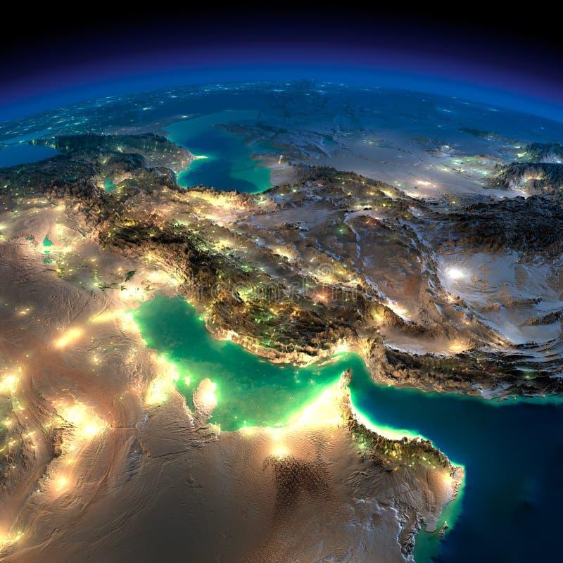 Tierra de la noche. Golfo Pérsico ilustración del vector