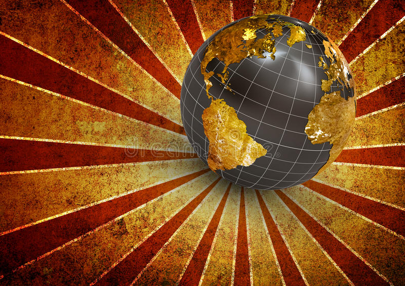 Tierra de la vendimia 3d ilustración del vector