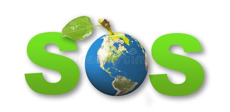 Tierra del concepto el SOS foto de archivo