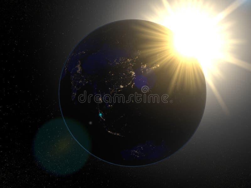 Tierra del espacio Asia en la noche stock de ilustración