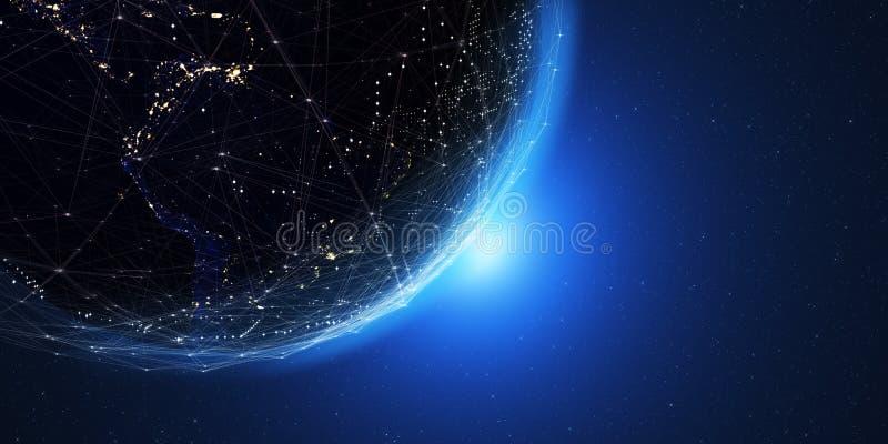 Tierra del espacio en la noche con un sistema de comunicación digital 3 imagen de archivo