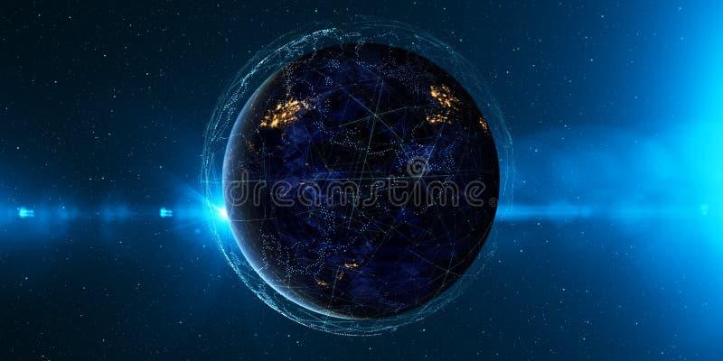 Tierra del espacio en la noche con un sistema de comunicación digital 3 ilustración del vector