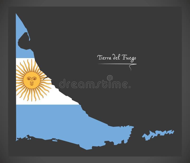 Tierra Del Fuego mapa Argentyna z Argentyńską flaga państowowa royalty ilustracja