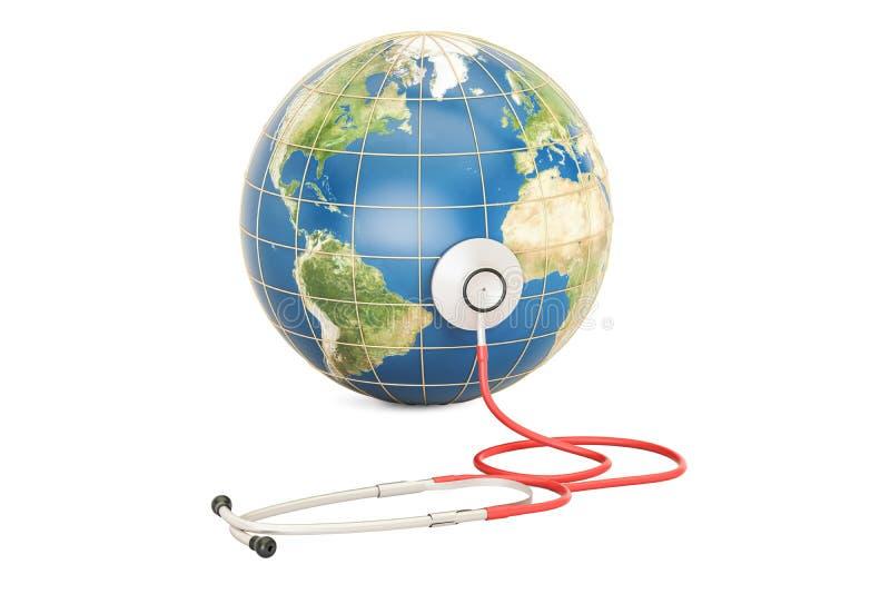 Tierra del globo con el estetoscopio Atención sanitaria global, salud DA del mundo stock de ilustración