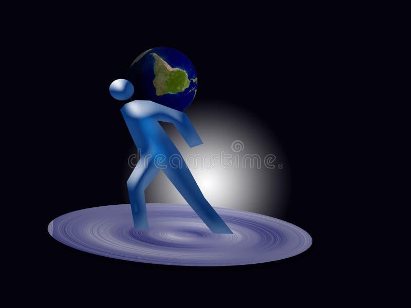 Tierra del hombre y del planeta ilustración del vector