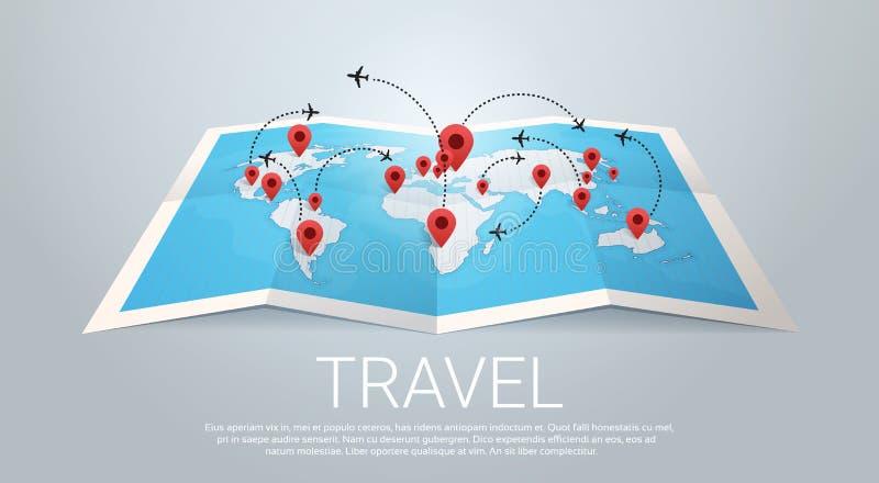 Tierra del mapa del mundo con concepto del viaje de los pernos stock de ilustración
