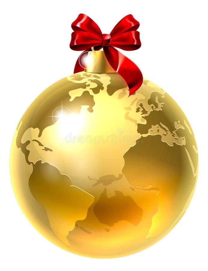 Tierra del mundo del globo del arco de la chuchería de la Navidad libre illustration