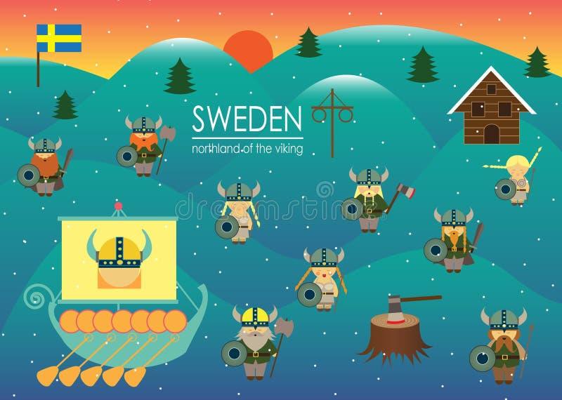 Tierra del norte de Suecia del país de Escandinavia de los vikngs ilustración del vector