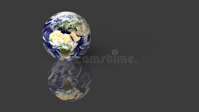 Tierra del planeta colocada en el escritorio brillante gris con la reflexión 3d rinden Elementos de esta imagen equipados por la  libre illustration