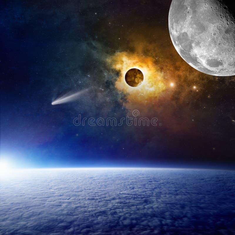 Tierra del planeta, cometa brillante, nebulosa que brilla intensamente y luna en espacio stock de ilustración