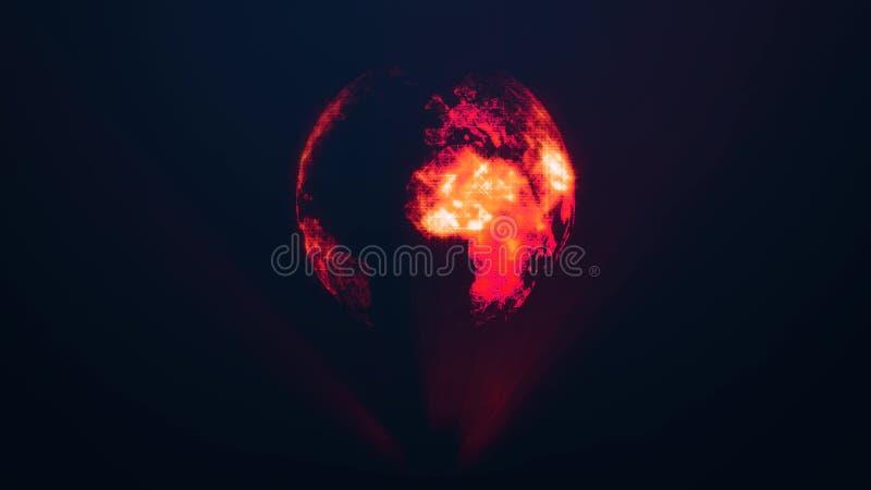 Tierra del planeta como holograma rojo del resplandor Conexiones digitales globales ilustración del vector