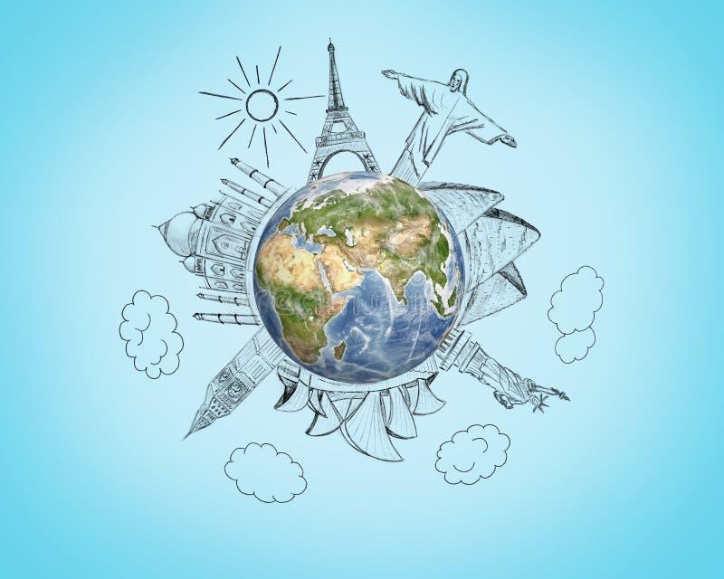 Tierra del planeta con bosquejos del lápiz 7 maravillas del mundo en fondo azul Concepto del viaje y del mundo ilustración del vector