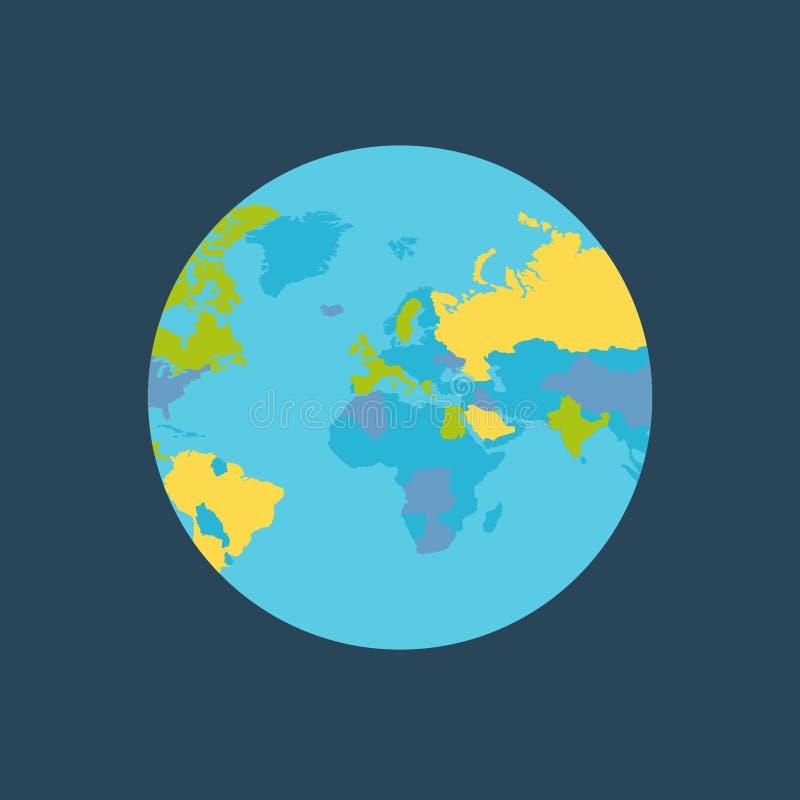 Tierra del planeta con el ejemplo del vector de los países ilustración del vector