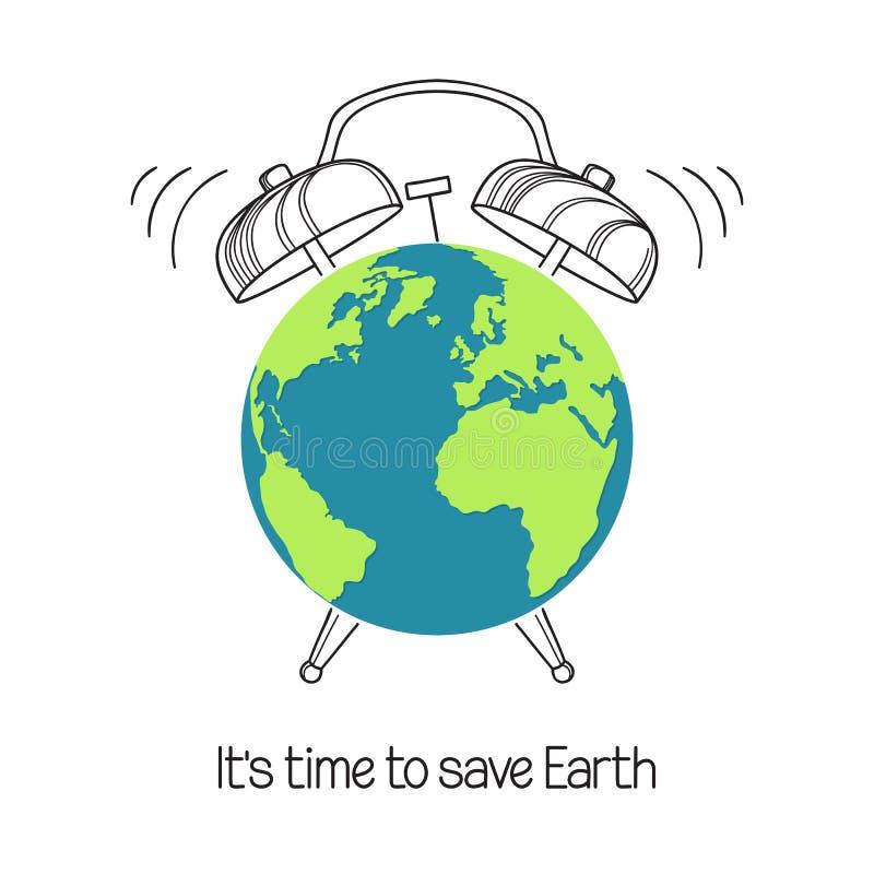 Tierra del planeta con el ejemplo del despertador libre illustration