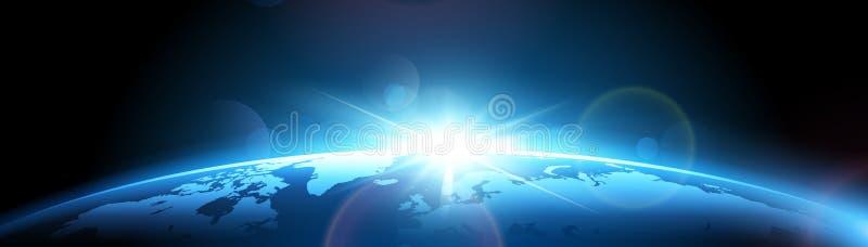Tierra del planeta con el sol ilustración del vector