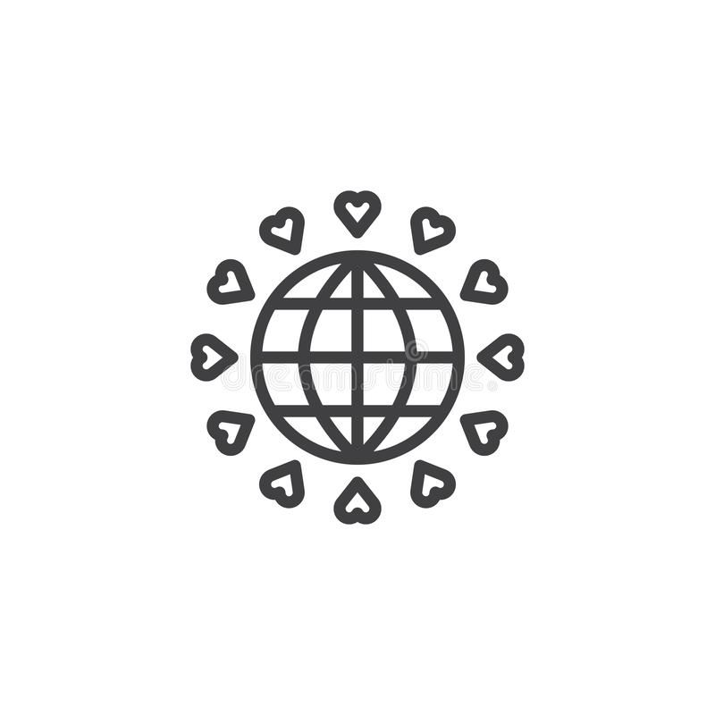 Tierra del planeta con la línea de corazones icono ilustración del vector