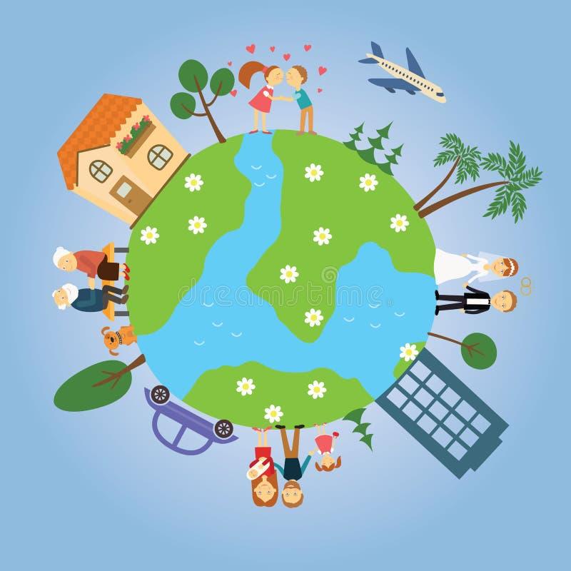 Tierra del planeta con los árboles pintados, las casas, los coches, la gente alrededor de él libre illustration