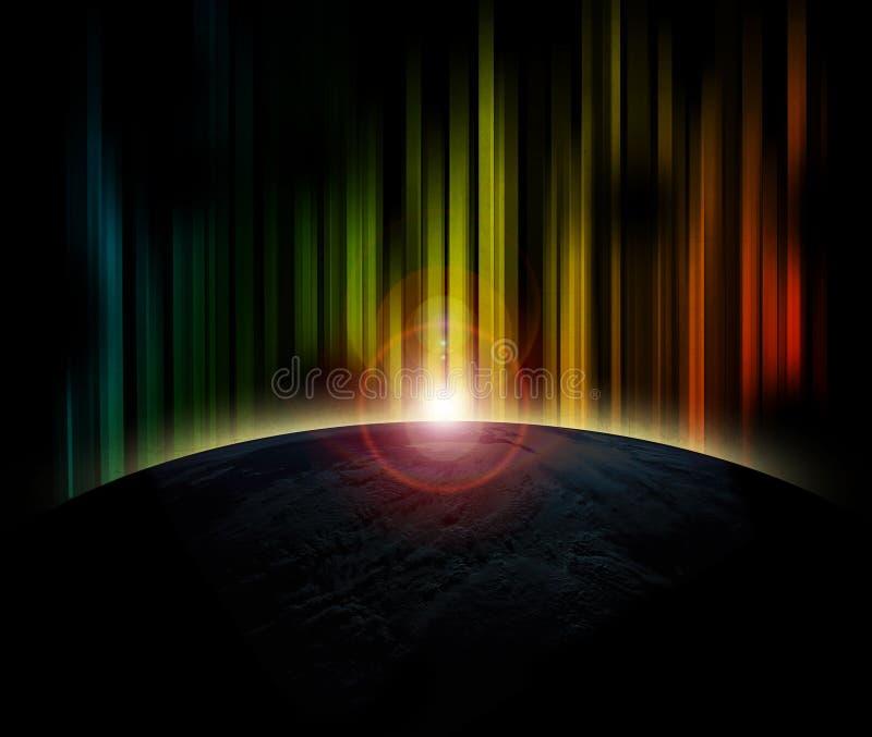 Tierra del planeta con salida del sol foto de archivo