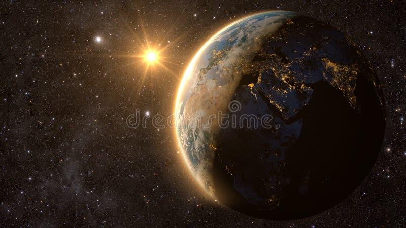 Tierra del planeta con una puesta del sol espectacular, imágenes de archivo libres de regalías
