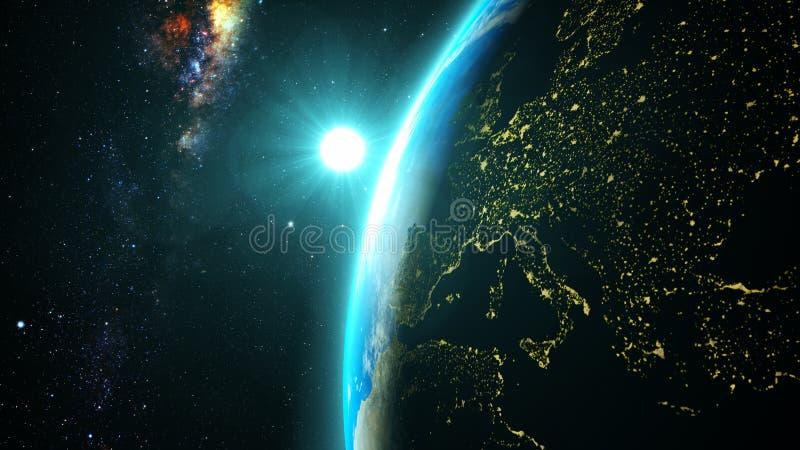 Tierra del planeta con una puesta del sol espectacular foto de archivo
