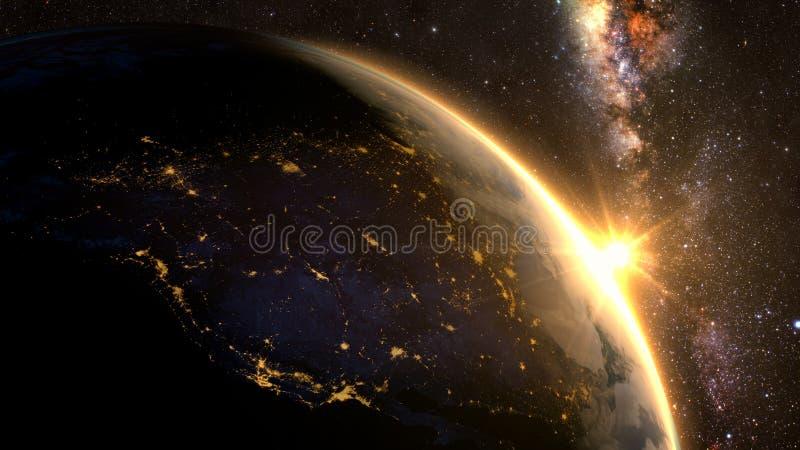 Tierra del planeta con una salida del sol espectacular, imagenes de archivo