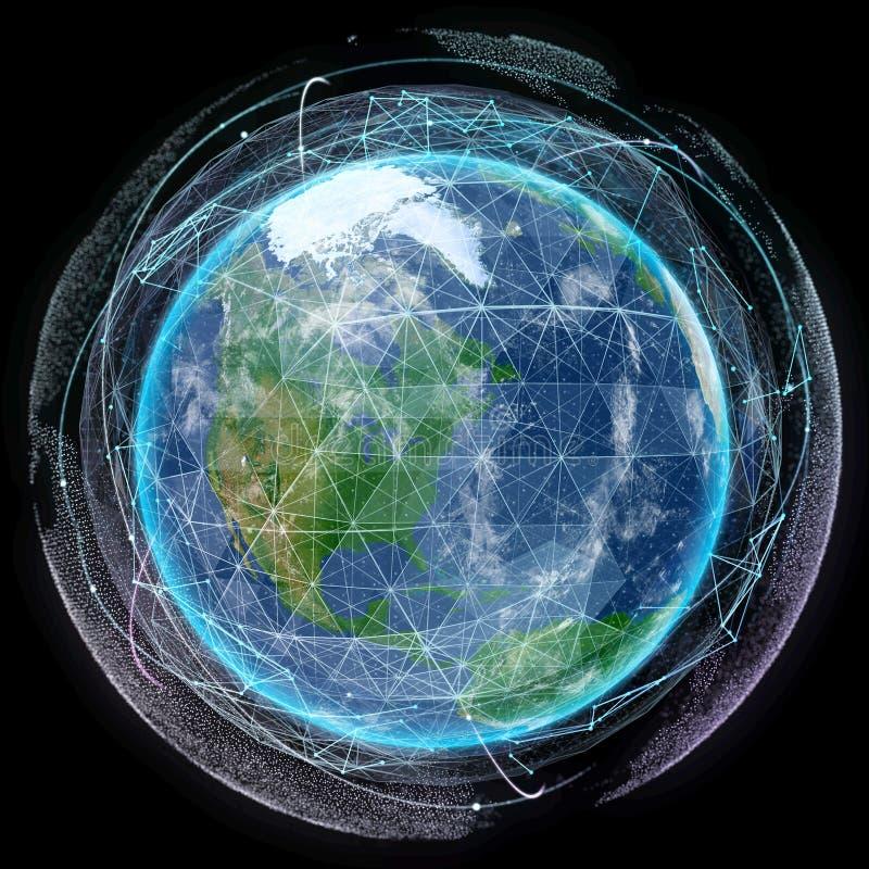 Tierra del planeta de la red en espacio ilustración del vector