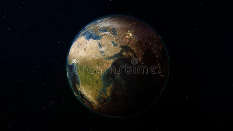 tierra del planeta de la representación 3D del espacio contra la perspectiva del cielo de la estrella stock de ilustración