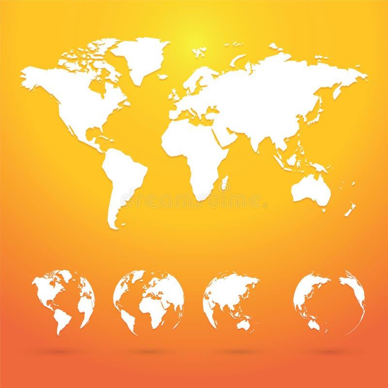 Tierra del planeta de los globos con todos los continentes stock de ilustración