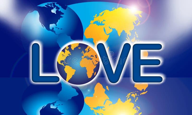 Tierra del planeta del amor el mundo ilustración del vector