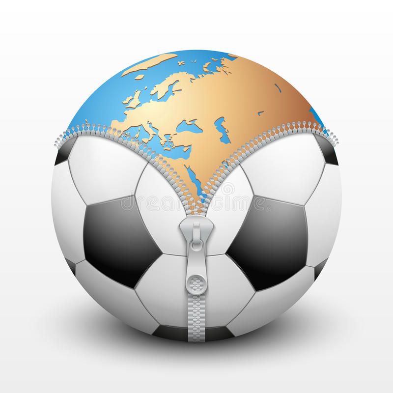 Tierra del planeta dentro del balón de fútbol stock de ilustración