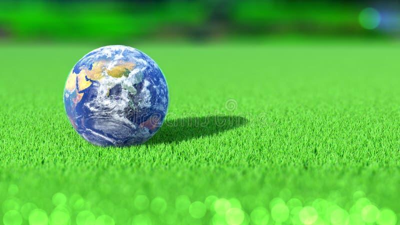 Tierra del planeta en el curso del verde del golf La India Concepto representación 3d ilustración del vector