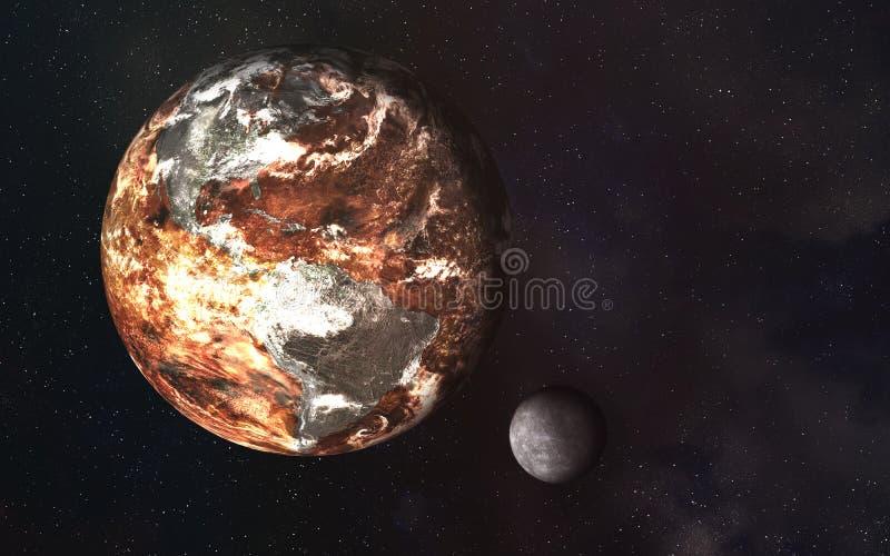 Tierra del planeta en el disiaster y luna en el espacio ilustración del vector
