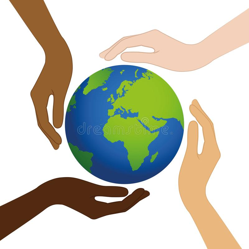 Tierra del planeta en el medio de las manos humanas con diversos colores de piel ilustración del vector