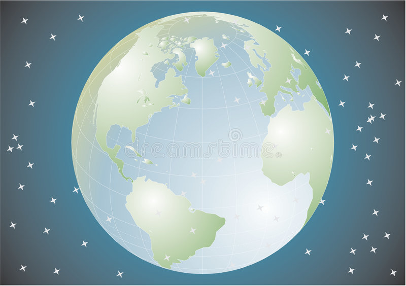Tierra del planeta en el universo stock de ilustración
