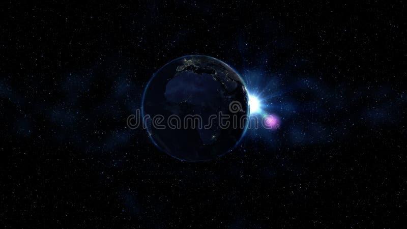 Tierra del planeta en el universo negro y azul de estrellas Vía láctea en el fondo Día y noche la ciudad enciende cambios Norte y fotografía de archivo