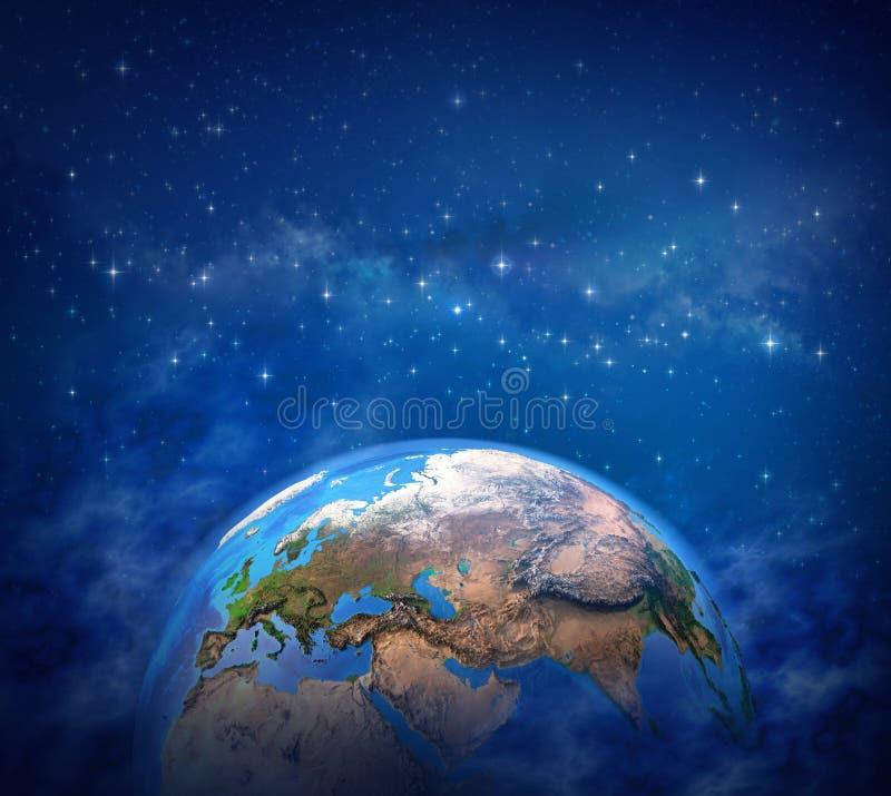 Tierra del planeta en espacio cósmico ilustración del vector