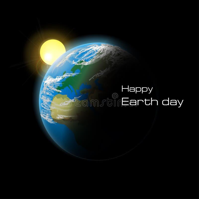Tierra del planeta en espacio Día de la Tierra feliz Ilustración del vector ilustración del vector