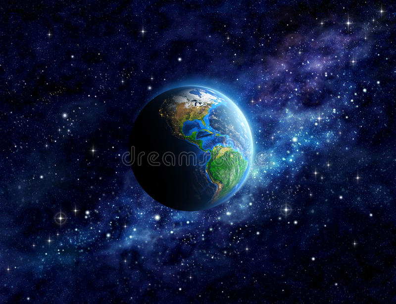 Tierra del planeta en espacio exterior imagenes de archivo