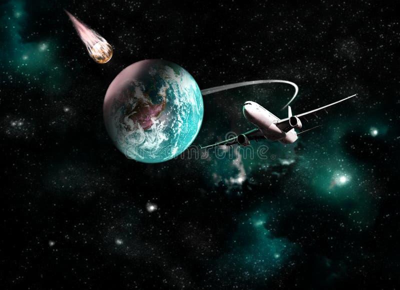Tierra del planeta en fondo del espacio. stock de ilustración