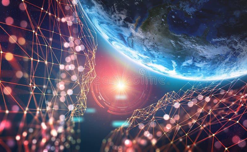 Tierra del planeta en la era de tecnología digital Redes de comunicaciones globales del futuro Sistema del almacenamiento de dato ilustración del vector