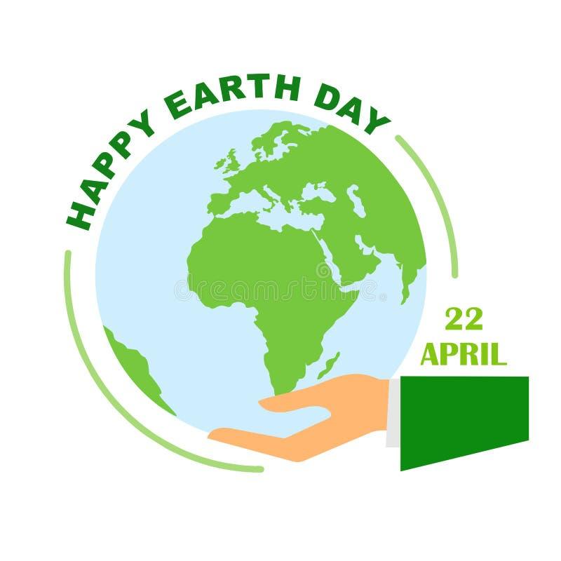 Tierra del planeta en la mano humana, cartel para el Día de la Tierra el 22 de abril Ejemplo del vector de un estilo plano libre illustration